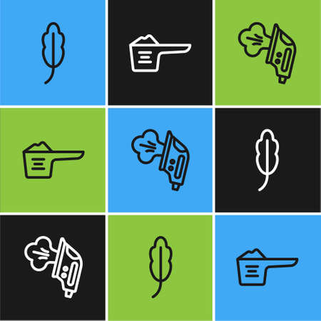 Set line Feather, Electric iron and Washing powder icon. Vector 矢量图像
