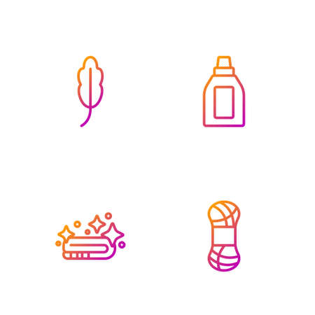 Set line Yarn, Towel stack, Feather and Bottle for cleaning agent. Gradient color icons. Vector