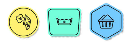 Set line Electric iron, Temperature wash and Basin with soap suds. Colored shapes. Vector 矢量图像