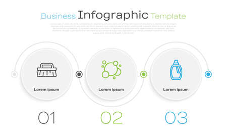 Set line Brush for cleaning, Soap water bubbles and Bottle. Business infographic template. Vector