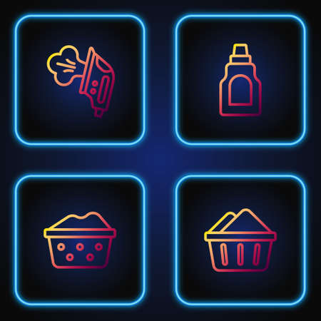 Set line Basin with soap suds, Electric iron and Bottle for cleaning agent. Gradient color icons. Vector