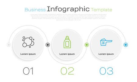 Set line Soap water bubbles, Bottle for cleaning agent and Washing powder. Business infographic template. Vector