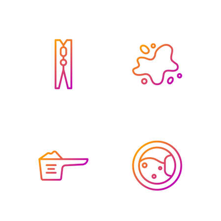 Set line Washer, Washing powder, Clothes pin and Water spill. Gradient color icons. Vector