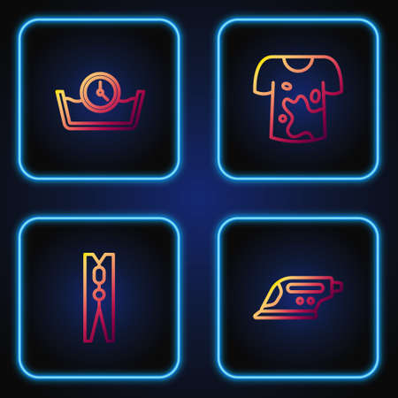 Set line Electric iron, Clothes pin, Time wash and Dirty t-shirt. Gradient color icons. Vector 矢量图像