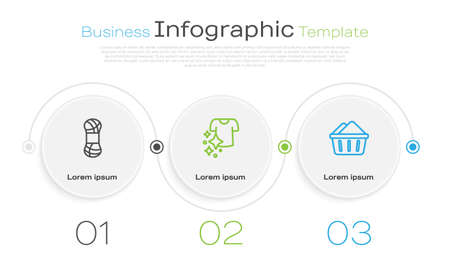 Set line Yarn, Drying clothes and Basin with soap suds. Business infographic template. Vector