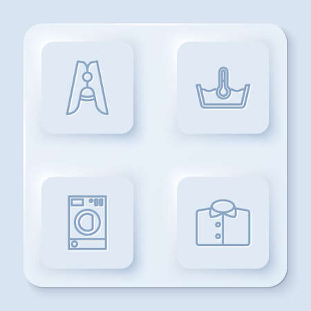 Set line Clothes pin, Temperature wash, Washer and T-shirt. White square button. Vector 矢量图像