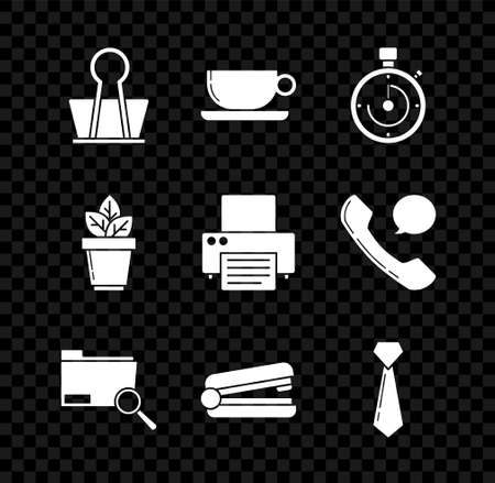 Set Binder clip, Coffee cup flat, Briefcase, Search concept with folder, Office stapler, Tie, Flowers pot and Printer icon. Vector