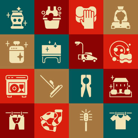 Set Drying clothes, Home cleaning service, Washing dishes, Cleaning, table, cooking pot, vase and Lawn mower icon. Vector