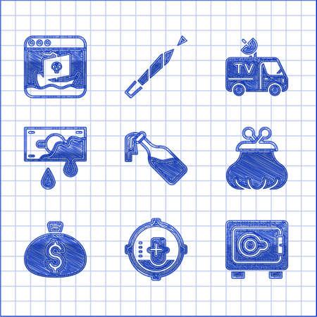 Set Cocktail molotov, Headshot, Safe, Wallet, Money bag, Bloody money, TV News car and Internet piracy icon. Vector Vector Illustration