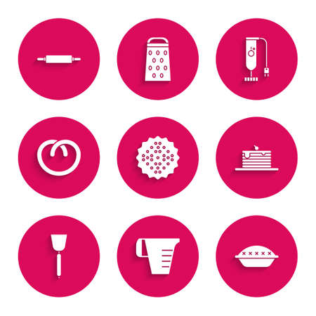 Set Cracker biscuit, Measuring cup, Homemade pie, Stack of pancakes, Spatula, Pretzel, Blender and Rolling pin icon. Vector