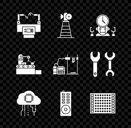 Set Assembly line, Antenna, Robot and digital time manager, Internet of things, Remote control, Printed circuit board PCB, Factory conveyor system belt and 3D printer icon. Vector