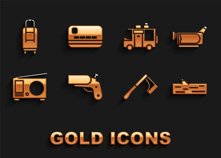 Set Flare gun pistol, Cinema camera, Wooden log, axe, Radio with antenna, Rv Camping trailer, Suitcase and Credit card icon. Vector