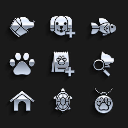 Set Bag of food for dog, Turtle, Collar with name tag, Veterinary clinic symbol, Dog house, Paw print, Fish and icon. Vector Vettoriali