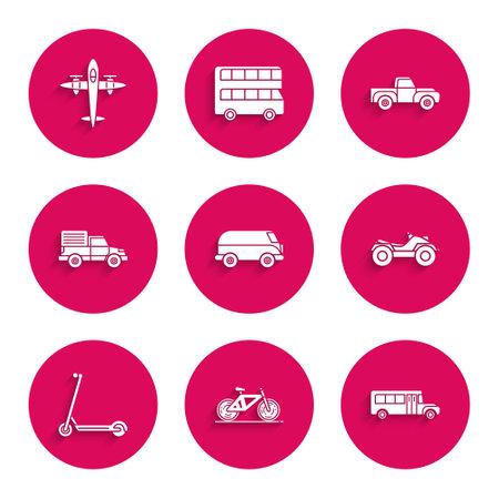 Set Retro minivan, Bicycle, School Bus, All Terrain Vehicle or ATV motorcycle, Scooter, Delivery cargo truck vehicle, Pickup and Old retro vintage plane icon. Vector Ilustración de vector