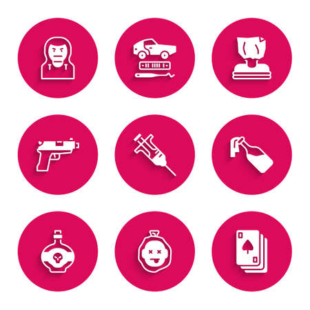 Set Syringe, Murder, Playing cards, Cocktail molotov, Poison bottle, Pistol or gun, Kidnaping and Thief mask icon. Vector