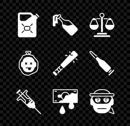 Set Canister fuel, Cocktail molotov, Scales of justice, Syringe, Bloody money, Bandit, Murder and Baseball bat with nails icon. Vector