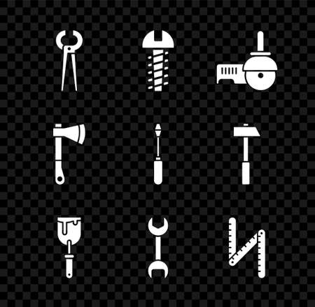 Set Pincers and pliers, Metallic screw, Angle grinder, Putty knife, Wrench spanner, Folding ruler, Wooden axe and Screwdriver icon. Vector Vektorgrafik
