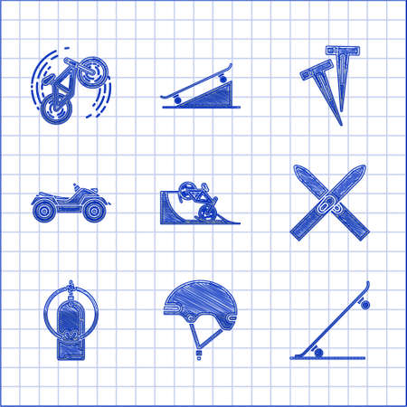 Set Bicycle on street ramp, Helmet, Skateboard, Ski and sticks, Aqualung, All Terrain Vehicle or ATV motorcycle, Pegs for tents and trick icon. Vector