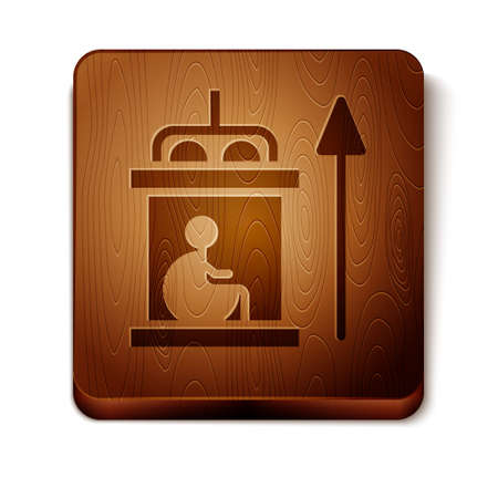 Brown Elevator for disabled icon isolated on white background. Wooden square button. Vector