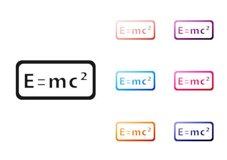 Black Math system of equation solution icon isolated on white background. E equals mc squared equation on computer screen. Set icons colorful. Vector