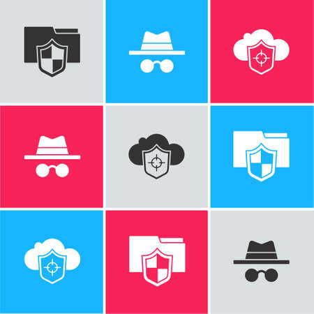 Set Document folder protection, Incognito mode and Cloud and shield icon. Vector