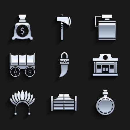 Set Tooth, Saloon door, Canteen water bottle, Wild west saloon, Indian headdress with feathers, covered wagon, and Money bag icon. Vector