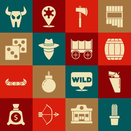 Set Cactus peyote in pot, Revolver gun holster, Gun powder barrel, Tomahawk axe, Cowboy, Game dice, Buffalo skull and Wild west covered wagon icon. Vector
