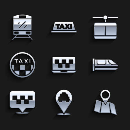 Set Laptop call taxi service, Location with, Folded map location, High-speed train, Taxi car roof, Cable and Train icon. Vector
