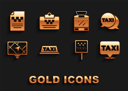 Set Taxi car roof, call telephone service, Location with taxi, Road sign for stand, Gps device map, Tram railway, driver license and icon. Vector