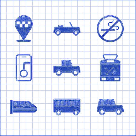 Set Car, Bus, Tram and railway, High-speed train, City map navigation, No Smoking and Location with taxi icon. Vector