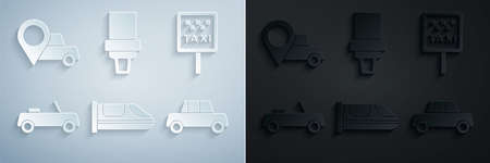 Set High-speed train, Road sign for taxi stand, Car, Safety belt and Location with icon. Vector