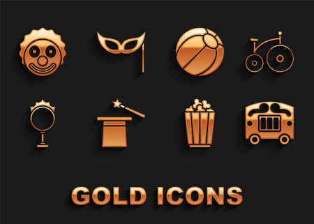 Set Magic hat and wand, Vintage bicycle, Circus wagon, Popcorn box, fire hoop, Beach ball, Clown head and Festive mask icon. Vector Ilustracja