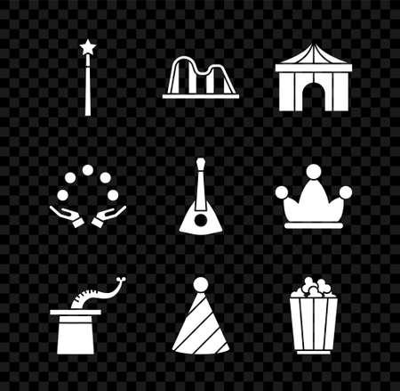 Set Magic wand, Roller coaster, Circus tent, Magician hat, Party, Popcorn in box, Juggling ball and Balalaika icon. Vector