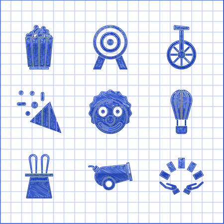 Set Clown head, Cannon, Hand holding playing cards, Hot air balloon, Magician hat rabbit ears, Festive confetti, Unicycle or one wheel bicycle and Popcorn box icon. Vector