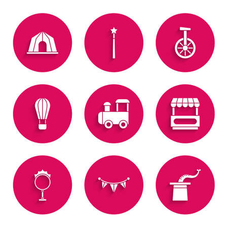 Set Toy train, Carnival garland with flags, Magician hat, Fast street food cart, Circus fire hoop, Hot air balloon, Unicycle or one wheel bicycle and tent icon. Vector