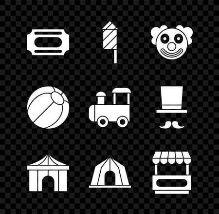 Set Circus ticket, Firework rocket, Clown head, tent, Fast street food cart, Beach ball and Toy train icon. Vector Ilustracja