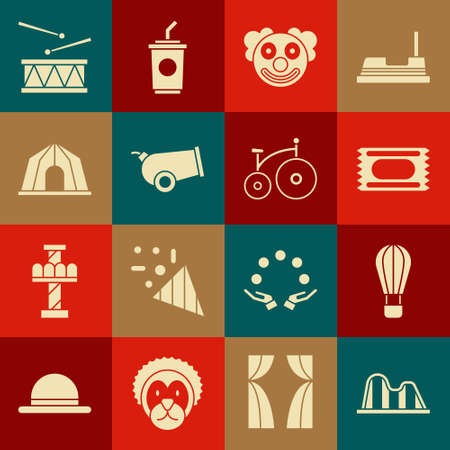 Set Roller coaster, Hot air balloon, Circus ticket, Clown head, Cannon, tent, Drum with drum sticks and Vintage bicycle icon. Vector