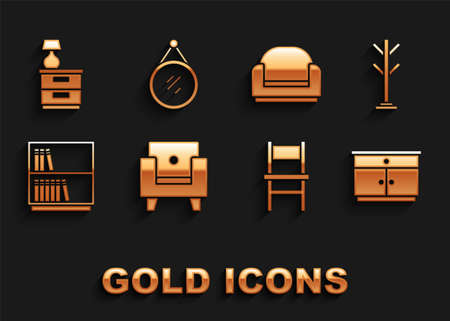 Set Armchair, Coat stand, Furniture nightstand, Chair, Library bookshelf, with lamp and Mirror icon. Vector