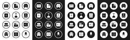 Set Armchair, Lamp hanging, Wardrobe, and TV table stand icon. Vector