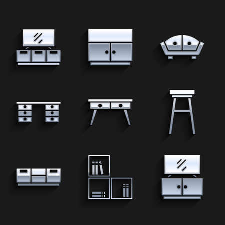 Set Office desk, Shelf with books, TV table stand, Chair, Furniture nightstand, Sofa and icon. Vector