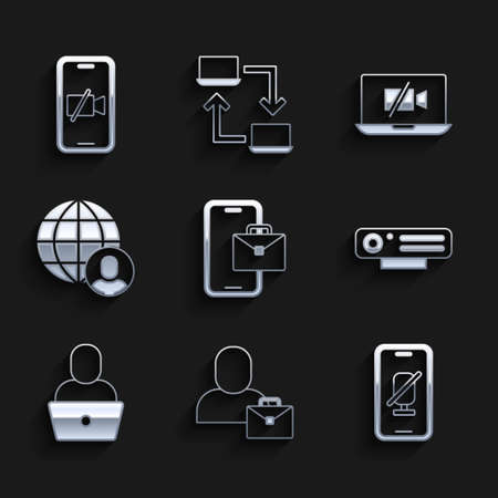 Set Freelancer, Mute microphone on mobile, Web camera, Video Off laptop and icon. Vector Ilustracja