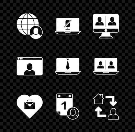 Set Freelancer, Mute microphone on laptop, Video chat conference, Heart with text work, Time management, Online working, and icon. Vector Ilustracja