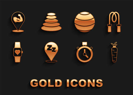 Set Sleepy, Jump rope, Carrot, Stopwatch, Smart, Fitness ball, Bodybuilder muscle and Stack hot stones icon. Vector