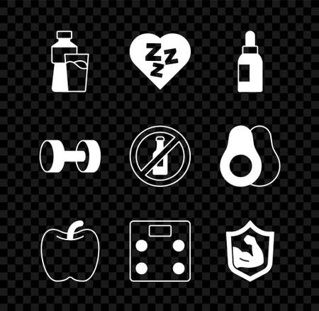 Set Bottle of water with glass, Sleepy, Essential oil bottle, Apple, Bathroom scales, Bodybuilder muscle, Dumbbell and No alcohol icon. Vector