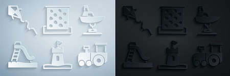 Set Sand tower, Swing boat, Kid slide, Toy train, Climbing wall and Kite icon. Vector