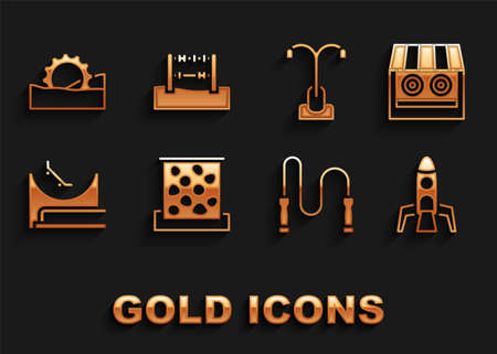 Set Climbing wall, Shooting gallery, Rocket ship, Jump rope, Skate park, Street light, Ferris wheel and Abacus icon. Vector Ilustracja