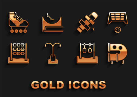 Set Street light, Soccer goal with ball, Kid playground slide pipe, Gymnastic rings, Tic tac toe game, Hopscotch, Roller skate and Skate park icon. Vector