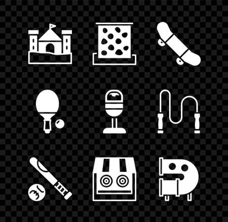 Set Sand castle, Climbing wall, Skateboard trick, Baseball bat with ball, Shooting gallery, Kid playground slide pipe, Racket and Trash can icon. Vector Ilustracja