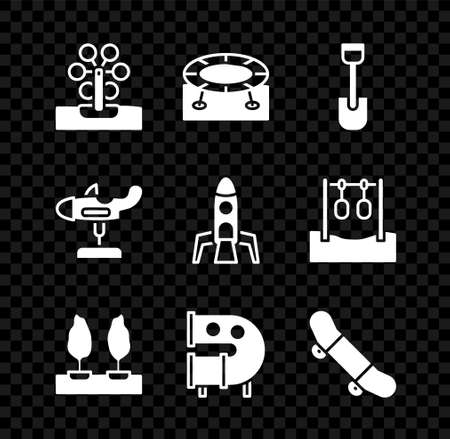 Set Ferris wheel, Jumping trampoline, Shovel toy, Forest, Kid playground slide pipe, Skateboard trick, Swing plane and Rocket ship icon. Vector