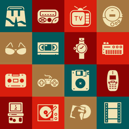 Set Play Video, Old mobile phone, Music synthesizer, Retro tv, VHS video cassette tape, Glasses, Short or pants and Wrist watch icon. Vector